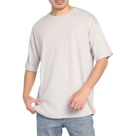 BIGHAS Tシャツ 半袖 純色 クルーネック ビッグシルエット シンプル 無地 メンズ 吸汗 速乾 おしゃれ ゆったり 男性用 カジュアル アレルギー対策済 (M(日本サイズ167~175相当), グレー)