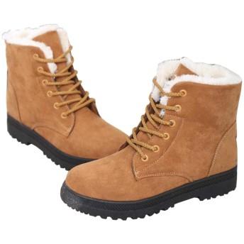 [Vxiss] スノーブーツ ショート ブーツ レディーズ ローヒール きれい かわいい 綿靴 雪用ブーツ 防寒 歩きやすい カジュアル 裏ボア 全5色 (24.5, ブラウン)