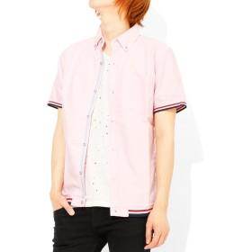半袖シャツ メンズ オックスフォード リブ デザイン ボタンダウンシャツ L ピンク