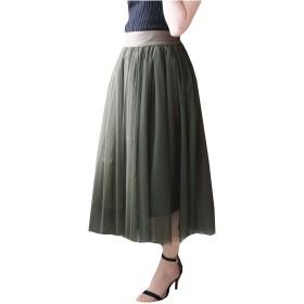 [アンドジェイ] 2WAY チュール スカート サロペット (4199) M カーキ