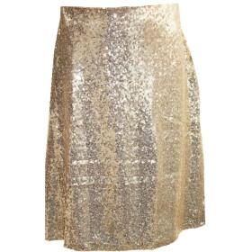 スパンコール スカート フレア Aライン ひざ丈 M L XL ゴールド (XLサイズ)