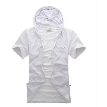Foncaz パーカー 半袖 メンズ ジップアップパーカー スウェット フード ポケット付き 無地 薄手 カジュアル シンプル (ホワイト, XXL)