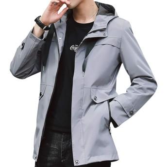 CEEN メンズ ジャケット フード付き コート アウター 無地 キレイ目 防風防寒 カジュアル 秋冬 スリム ストリート スポティー 大きいサイズ 軽量