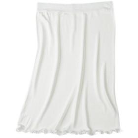 レディース シルクエチケットスカート ペチコート ランジェリー エチケット スカート レース 透け防止 silk シルク100% silk100% レディース 下着 肌に優しい 涼感 敏感肌 低刺激 快適 保湿 (L, ホワイト)