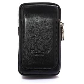 メンズ 本革 ガジェットバッグ コンパクト ベルトポーチ スマホ iPhone 8/ iPhone 7 Plus 4.7~6インチ対応 Lサイズ 縦型 黒