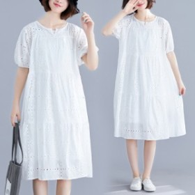 ロングワンピース 大きいサイズ 春  夏 シンプル 半袖 綿 刺繍 ワンピース ロング ワンピース 3605