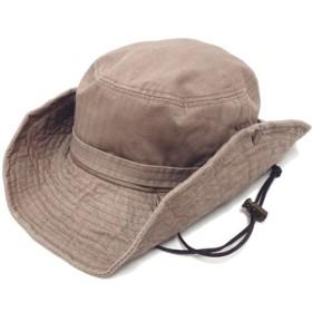 ハッピーハット 帽子 Mサイズ(59-60cm)のサファリハット ナチュラルカラー グレーブラウン
