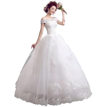 オフショルダー ウエディングドレス レースアップ Aライン 純白 花嫁衣装 (XS) [並行輸入品]