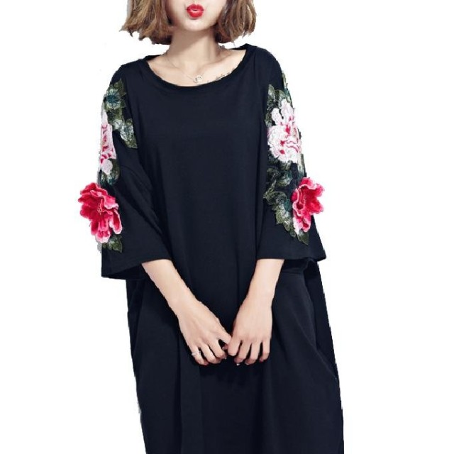 (ピンニヤ) Pinniya おしゃれ シンプル 立体 花柄 刺繍 ドルマン ゆったり ロング丈 半袖 レディース Tシャツ カットソー かわいい カジュアル 大きいサイズ 黒 チュニック きれいめ 体型カバー ブラック