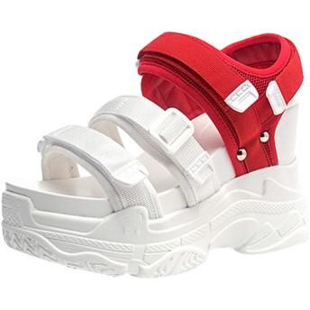 サンダル レディース メンズ カジュアル おしゃれ ホワイト スポーツサンダル カップル ペア 韓国風 ヒール10cm ナースシューズ サンダル ベルクロ軽量 通気 ダイエット 立ち仕事 歩きやすい 23.5cm オフィスサンダル