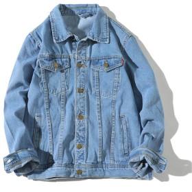 [Mirroryou]デニムジャケット メンズ ジーンズ Gジャン 春秋 スリム ライトブルー Lサイズ