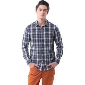 メンズ チェックシャツ(長袖)カジュアル ワイシャツ 格子 ビジネス 大きいサイズ P-13(M,20)