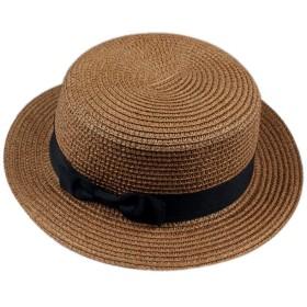 リボン カンカン帽 レディース