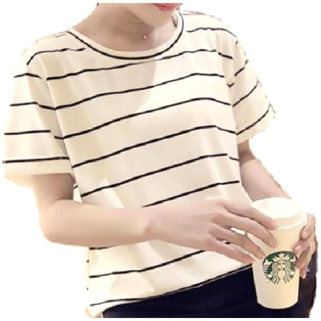 MSP レディース ストライプ シャツ 半袖 Tシャツ ボーダー 縞模様 カットソー トップス (白 L)