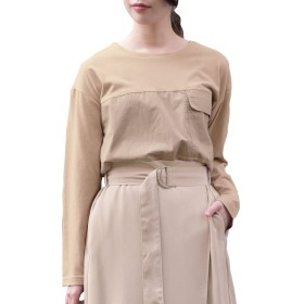 [アンドジェイ] 異素材切り替えポケットミリタリーTシャツ(4206) M ベージュ