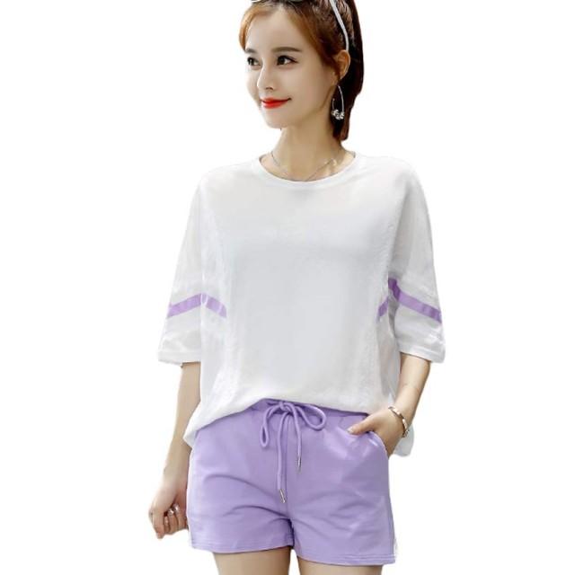 セットアップ レディース ジャージ スウェット Tシャツ 半袖 ショートパンツ 上下セット ゆったり ルームウェア 部屋着 スポーツ カジュアル 夏 紫