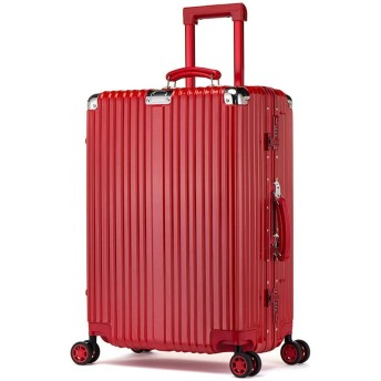 Osonm アルミマグネシウム合金フレーム TSAロック キャリーケース スーツケース 機内持ち込みスーツケース 預け入れスーツケース 自在車 静音キャスター (S, レッド)