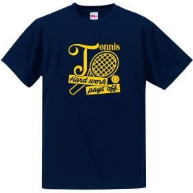テニス Tシャツ ドライシルキー ウェア 練習着に!TN801 L ネイビー×ゴールド