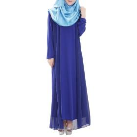 Zhhlinyuan Muslims Style Robes Dress Arab Women Ladies Chiffon Long ドレス Long Sleeves