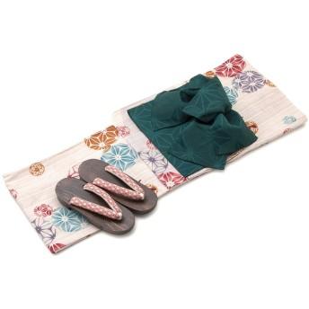 bonheur saisons ボヌールセゾン 綿麻浴衣 帯 セット 手鞠 金魚 麻の葉 レディース