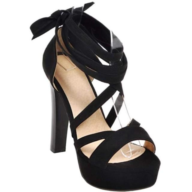 [山本道] ハイヒールサンダル レディースシューズ 編み上げサンダル レディース フィットサンダル 痛くない ヒール カジュアル かわいい 綺麗靴 大きいサイズ 小さいサイズ お出かけ 通勤 美脚 真夏靴 (24.0cm, ブラック)
