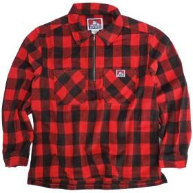 BEN DAVIS ハーフジップシャツ バッファローチェック 長袖シャツ メンズ ベンデービス (レッド, Mサイズ)