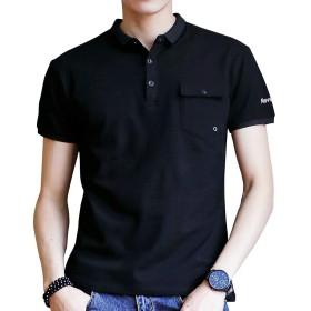 メンズ 半袖 ポロシャツ ボタンダウン ゴルフウェアシャツ カジュアル スポーツ tシャツ 無地 ファッション Poloシャツ 快適 薄手 吸汗速乾 夏季対応トップス Black-2XL