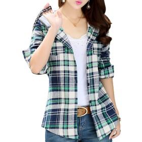 [Flapkash(フラップカッシュ)] マドラスチェックシャツ フード付き 羽織 長袖 カジュアル 秋 冬 パーカー チェックシャツ おしゃれ かっこいい チェック柄シャツ 女性 女子 女の子 ガール 綺麗系 きれい系 綺麗 きれいめ おおきいサイズ 可愛い カワイイ きれい かわいい ファッション グリーン チェック トップス ゆったり 体型隠し レディース (2XL グリーン)
