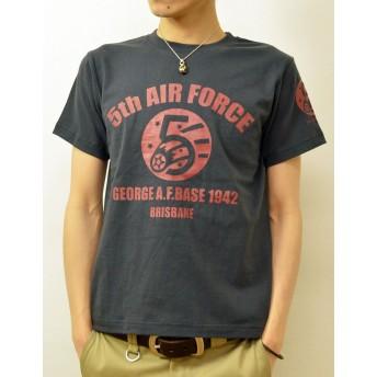 (ジーンズバグ)JEANSBUG 5th AIR FORCE オリジナル エアフォース 第5空軍 ミリタリー プリント 半袖 Tシャツ メンズ レディース 大きいサイズ ST-5thAF S スミ(165)