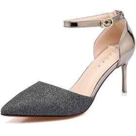 [Date U] セパレートパンプス レディース靴 ラメ キラキラ ファッションサンダル アンクルストラップ 小さいサイズ 合わせやすい 7cmヒール 結婚式 パーティー 調節可能 大きめ ポインテッドトゥ 春夏 黒 シルバー ゴールド 22cm