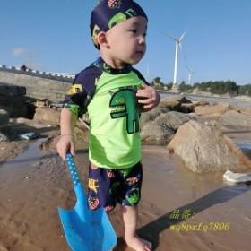 水着 男の子用水着 ベビー 海 夏 子供 110 水泳帽付き 90 80 120 上下セット 100 セパレートスポーツ 水遊び 130 恐竜柄 キッズ 水着男の