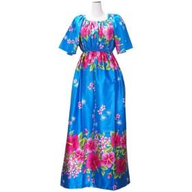 ムームー ブルー ハイビスカス柄 ドレス(ロング切替えゴム入) HA-G11