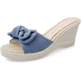 [HSFEO] ミュール ウェッジ レディース ビーチサンダル ビーサン カジュアルシューズ 夏靴 スリッパ 歩きやすい 履きやすい サボ 蝶結び シンプル かわいい ファッション 外出 女子力 ブルー