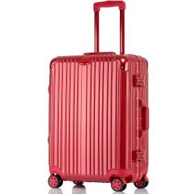 SGG スーツケース アルミフレーム ユニバーサルホイール TSAロック搭載 メンズ レディース 学生 ビジネス 機内持込 キャリーケース (L, レッド)