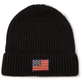 POLO RALPHLAUREN(ポロ ラルフローレン)American Flag Cuff Beanie(星条旗・ニットキャップ)PC0239・ブラック・黒/001