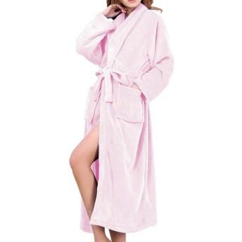 バスローブ レディース メンズ 厚手 良品優選 部屋着 お風呂上がり ルームウェア ボディタオル パジャマ 綿 ふわふわ 暖か 男女兼用 カップル ロング ガウン 腰ベルト付き カップルバスローブ ピンク M