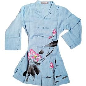 (上海物語)Shanghai Story 長袖 Uネック ゆったり チャイナ風 チュニック ブラウス レディース 花柄 ワンピース 民族風 エスニック 通気性 春夏 3XL Blue