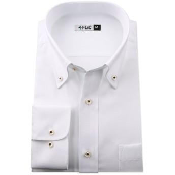 長袖ワイシャツ メンズ ボタンダウン SB152(織柄-スリム) M(82)サイズ/l-white-m-82-sb152