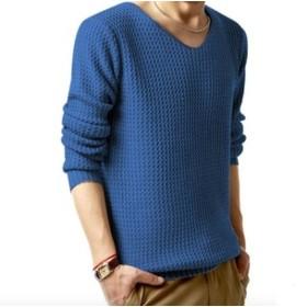 Elonglin ニット セーター メンズ 長袖 トップス ケーブル編み 丸首 クルーネック 無地 ファッション 波纹 シンプル カジュアル 春 秋 冬 大きいサイズ ブルー