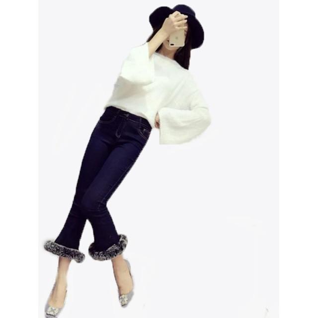 GuDeKeベルボトムジーンズ パンタロン ラッパズボン ブーツカット デニムパンツ 裾ファー付き レディース ベルボトム クロップドパンツ ボトムス 着痩せ スタイリッシュ ファッション セレブ愛着 デート ファッション(ブルー4.2.2)