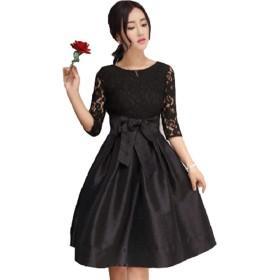 [エムズ ミミ] パーティ ドレス レース リボン Aライン スカート フレア ワンピース ブラック レッド S~3XL (XL, ブラック)