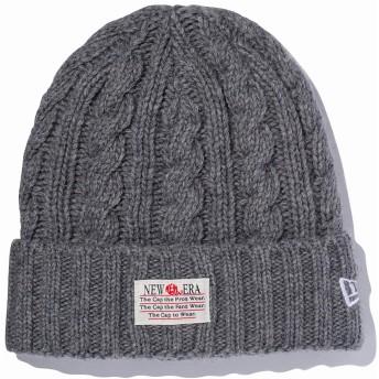 (ニューエラ) NEW ERA ニット帽 カフ OLD LOGO PATCH LOW GAUGE WOOL BLEND グレー FREE