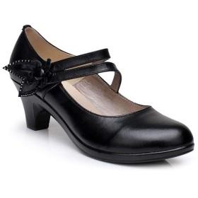 [ドドシューズ] ラウンドトゥ ストラップ 5cm チャンキーヒール パンプス レディース 痛くない 歩きやすい 履きやすい おしゃれ オシャレ 滑りにくい 太ヒール ミドルヒール 黒 フォーマル 結婚式 脱げない パーティ