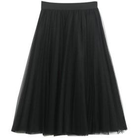 (Helostoma)レディース チュールスカート スカート ミディアム丈 ふんわり チュチュ パニエ ブラック