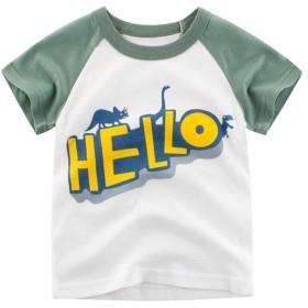 PANCY 子供服 春夏 半袖 Tシャツ キッズ 男の子 綿100% 恐竜柄 かわいい 1~10歳 (ホワイト+グリーン,130cm)