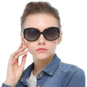 Bageson サングラス レディース 偏光レンズ メガネ 運転用 紫外線 UV400カット 大きいフレーム おしゃれ 小顔 メガネケース付(ブラック)
