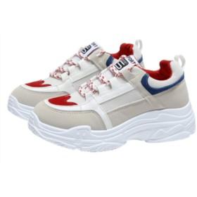 [イダク] スニーカー 厚底靴 レディース ハイカット 歩きやすい ウオーキングシューズ スポーツシューズ 疲れない カジュアル 美脚 おしゃれレッド24.5cm