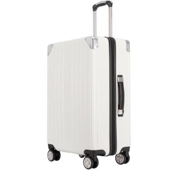 クロース(Kroeus) スーツケース ファスナータイプ 大型キャスター 8輪 キャリーケース 大容量 軽量 TSAロック ソフトなハンドル 取扱説明書付 S ホワイト