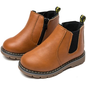 [ジャクシボー] キッズ ブーツ 男の子 女の子 ショートブーツ 裏ボア 防寒 レザー 防水 滑り止め 子供 フォーマル 靴 ブラウン 21