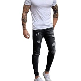メンズ パンツ ジッパー 破壊された 引き裂かれたパンツ スキニージーンズ ブルースリムジーンズ (S, ブラック)